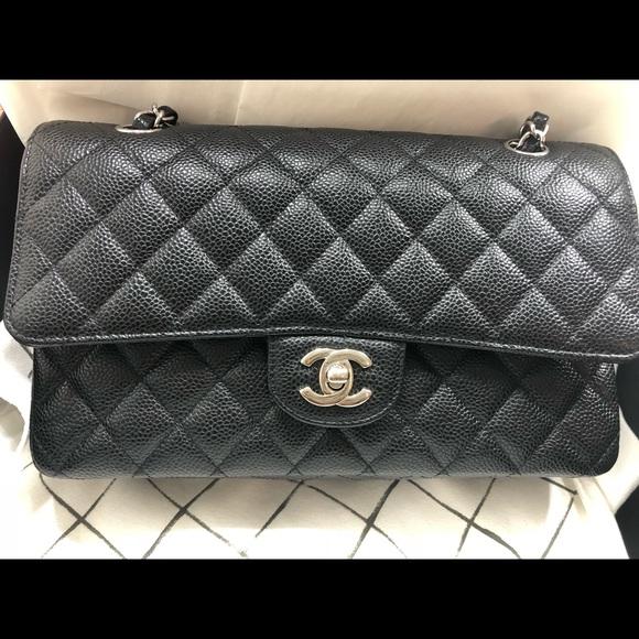 94cc0fe2198c CHANEL Bags | Auth Medium Double Flap Black Caviar Shw | Poshmark